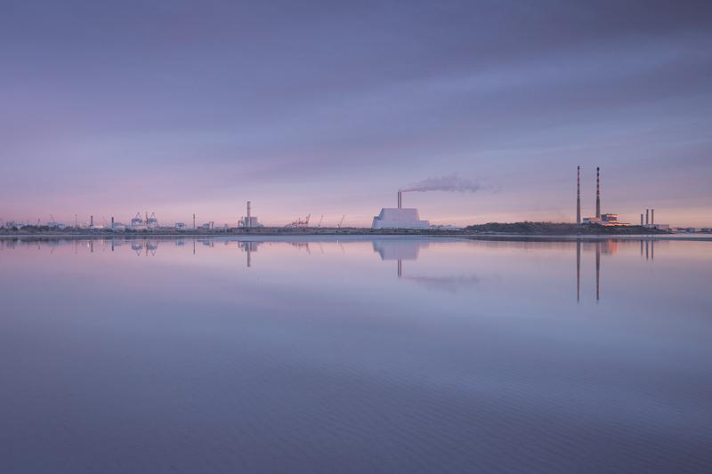 Still Sandymount. The perfect morningand combination of tide turn Sandymount into an unbroken mirror.